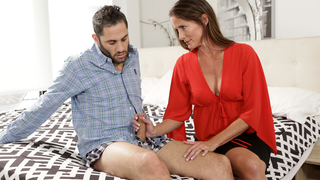Mom knows how to act with aroused son so she calms him down with incest