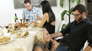 Male gets it on with a pie and then has an incest threesome sex