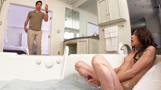 During relax in bath skinny minx gives her brother incest blowjob