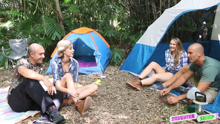 Lovely daughters give bald dads nice incest blowjobs outdoors in camp
