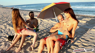 Fun on beach makes lovely chicks in mood for incest foursome with dads