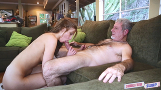 Old dude gets an incest Bj by her fit daughter