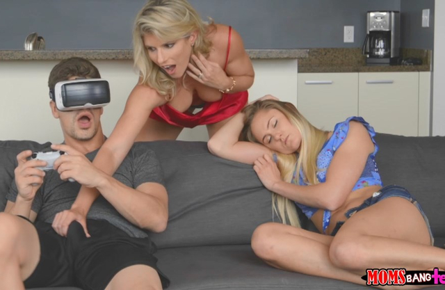Blonde mother reaches for her game loving son - Family Incest Videos
