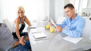 Blonde mother is not ashamed of an incest handjob
