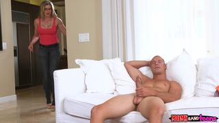 Best Incest Porn: Blonde busty MILF walks in on her son masturbating