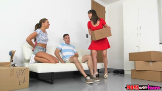 Threesome with a brunette MILF and her daughter - Incest Taboo Porn