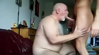 Fat and perv dad and his son fuck while mom at work