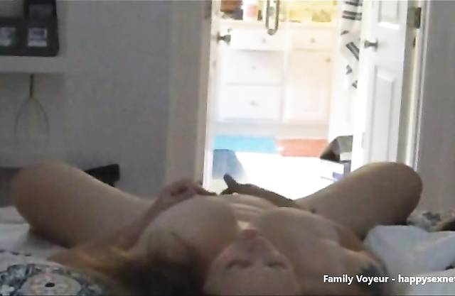 Son spies on mom masturbating via hidden camera and jerks to incest