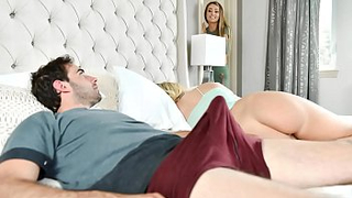 Blonde agrees to share BF's dick with his mom during incest threeway