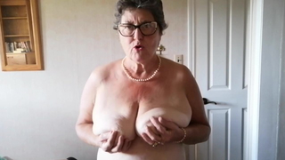 Mature auntie catches pervert nephew jacking off on her body