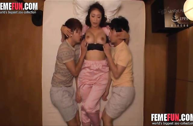 Busty asian mom fucks two young sons. Real hot incest