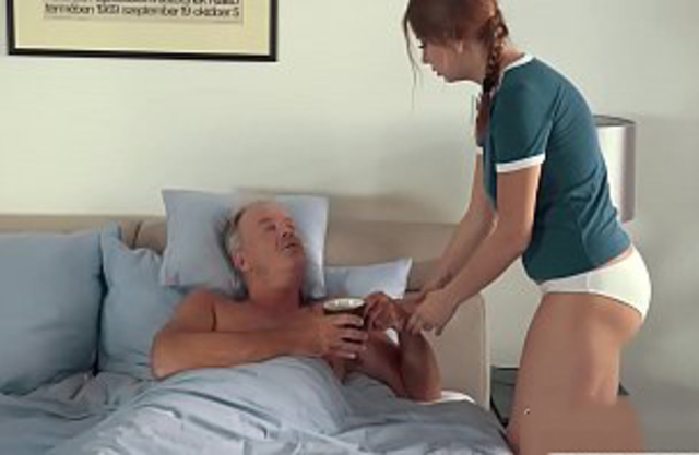Alluring granddaughter lets grandpa finger her fuck her and swallows his cum