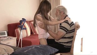 Sick granddaughter mouth cumshot medicine after fucking grandpa big old cock