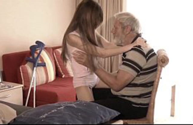 Sick granddaughter mouth cumshot medicine after fucking grandpa big old cock