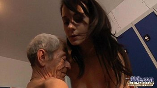 Grandpa goes hard for granddaughter and they have incest in locker room
