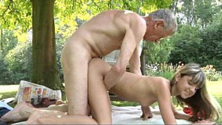 Grandpa can't resist granddaughter asking for incest sex in the fresh air