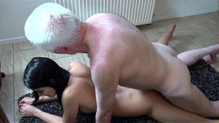 Hot 18 years virgin granddaughters sex with old grandpa fuck and facial cum