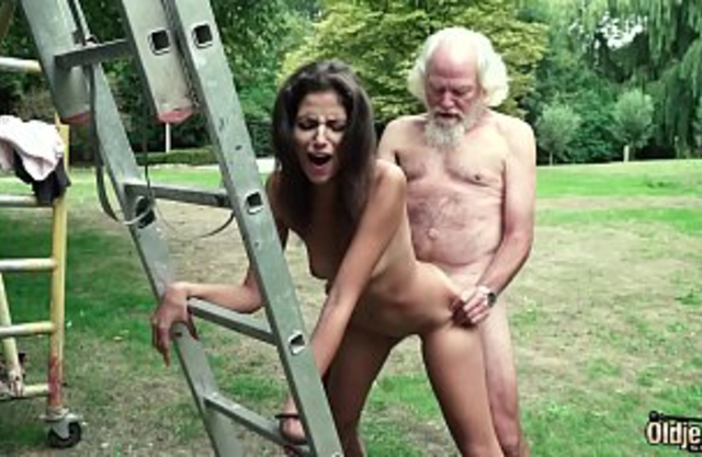 Depraved grandpa plays a sex game with young granddaughter they have super hot sex