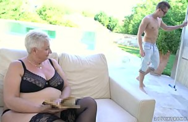 Incest - Fat grandmas tits covered with jizz own grandson