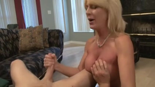 Depraved son wants his nude adorable mother to sit on his cock