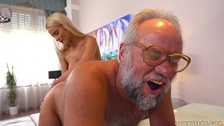 Grandpa ask own granddaughter for a blowjob before leaving for work
