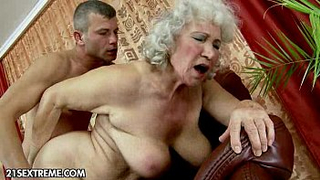 61 yo Depraved grandma makes her horny grandson cum for her