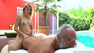 62 yo Grandpa must ensure her depraved granddaughter is rewarded after a massage