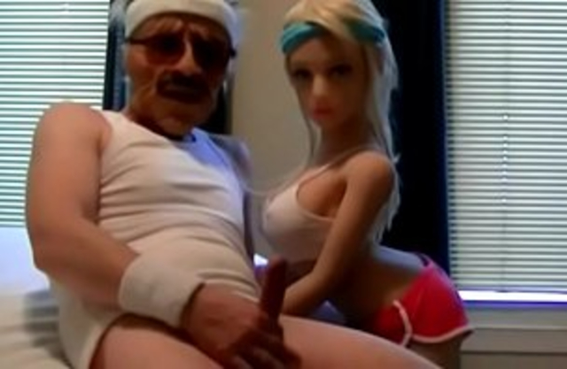 Mustached old stallion replaces daughter's tight pussy with a sex doll
