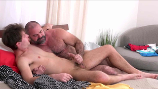 Muscle Bear Dad Teaching His Twink Son After Catching Him Jerking Off