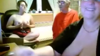 Nerdy daughter and mom suck lucky man's cock in turn on the webcam