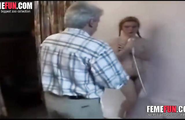 Pervert father spy on his cute daughter in the shower and fuck her