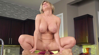 Big boobed mom rides the hard young cock of son's friend