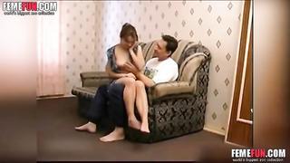 Whorish daughter seduced & fucked daddy in his bedroom