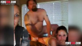 Shy mom watches daughter sucks father dick